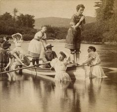 Grandpa escorts the women folk to the lake for an afternoon dip /  circa 1891