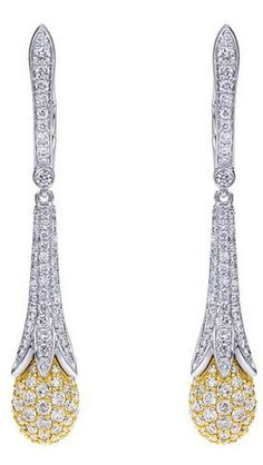 18k Yellow/white Gold Silk Drop Earrings