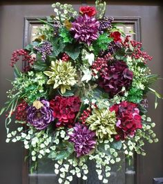 Tuscan Wreath Fall Door Elegant Luxe Designer Wall Floral Arrangement Jewel Tone | eBay