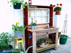 A fabulous selectively salvaged potting bench, preserving memories of a loved one. By Julie Turk_Franzen via DaiZy S. Monkey featured on http://www.ilovethatjunk.com/