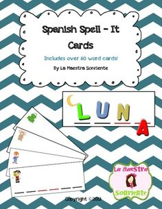 Spanish spell-it word cards $: Students use magnets, letter tiles, etc. to sound out 2, 3, and 4 syllable words