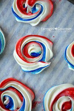 Red White Blue Meringues -- super easy recipe for deliciously sweet and crunchy meringues! via @Christie Moffatt Moffatt Moffatt nolen Gourmet