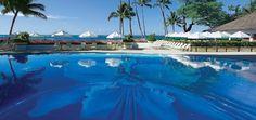 The pool at Halekulani Hotel.  Oahu, Hawaii.