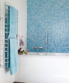 tile wall-I have this tile on two walls  in my shower and it is gorgeous. The colors are luminescent and the walls are very easy to clean.