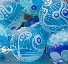 "Artisan Lampwork Beads - ""Sea Air""  #ArtisanLampworkBeads"