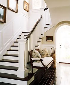 Love the dark floors with white trim