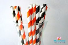 Halloween straws 18 Black and Orange Paper by Mariapalito