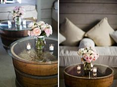 DIY - Whiskey Barrel Tables -  Home Depot has 18″ whiskey barrels for $30 and Bed Bath & Beyond has 20″ glass table toppers for $8.99. This is a great idea for DIY outdoor tables…for only $38.99 each!