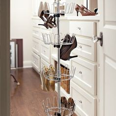 Revolving Shoe Tree Store 24 pairs in less than a foot of space!