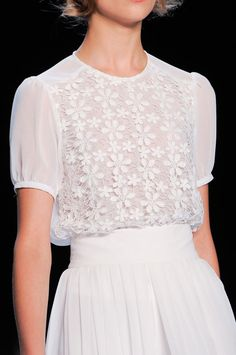 CLASSIC. OMGosh ... totally ADORABLE. White Lacey Blouse and Pleated White Skirt FROM: theeleganceofrunway: Badgley Mischka - New York Spring 2014 - Details