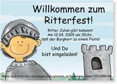 Geburtstagseinladung für Jungen - Ritterfest