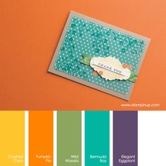 Stampin' Up! Color Combo: Crushed Curry, Pumpkin Pie, Wild Wasabi, Bermuda Bay, Elegant Eggplant  #stampinupcolorcombos