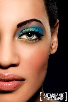eye makeup, shadow, blue green, green eyes, bold colors, bright colors