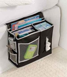 If you don't have room for a bedside table, use a mattress caddy. college room organization, college dorm stuff, college dorm organization, dorm room, bedsid tabl, bedside tables, college dorm organizers, college dorms, dorm idea