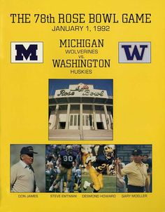 Gameday Program from the 1992 Rose Bowl vs. Michigan. National Champions!