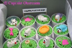 Such loveable little Westie cupcake toppers! Source: http://www.cupcakeobsession.com/home/westie-cupcakes-for-a-birthday/