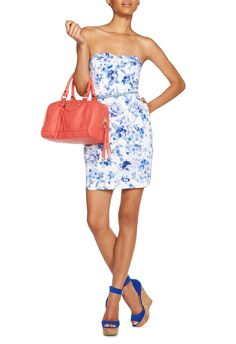 Margot Strapless Dress - JustFab - style #2 with a pop of colour and matching blue shoes