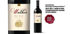 """Walker Napa Valley Red Wine - awarded """"Best Buy/World Wine Championships Award Silver Medal"""" by the Beverage Testing Institute."""