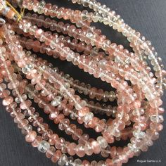Faceted Oregon Sunstone Rondelle Bead  8 Inch by sparklequest, $69.00