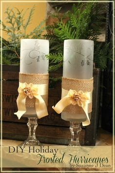 Bitz of Me: DIY Frosted Holiday Glass Hurricanes!... she made Christmas votives that I actually like a bit better, but she only posted the pic on FB.. same instructions, just different looks. the votives had snowflakes instead of the scroll work and holly.