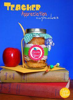Teacher Appreciation - Apple Caramel cupcakes in a jar