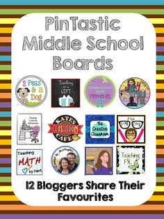 12 Pintastic Middle School Pinterest Boards chosen by active middle school teacher/bloggers.