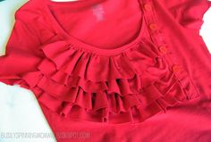 Ruffle and button T