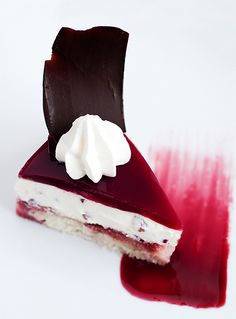 Elegant Pomegranate, White & Black Chocolate Mousse Cake