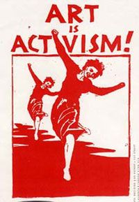 """""""Art is Activism"""" [click on this image to find a clip of a performance by spoken word artist, Sarah Jones. Remixing Gil Scott Heron's famous piece, """"The Revolution Will Not Be Televised,"""" Jones uses her art to assert, """"Your revolution will not happen between these thighs."""" Power and privilege in hip hop and rap music, and what it means for women."""