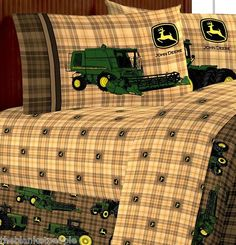 BRAND NEW JOHN DEERE BEDDING; TRADITIONAL TRACTOR& PLAID TWIN SIZE 5 PCS BED SET | eBay