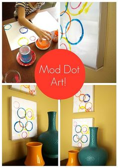 Kids Art.  I can see using cookie cutters for this.  Great idea for Wall Art in a bedroom.  Use Cars or Butterfly cookie cutters.  Ideas are endless.