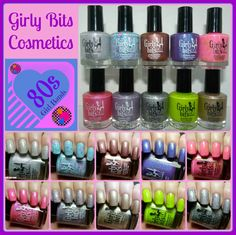 Girly Bits: The 80s Girl Band Collection - Swatches and Review | Pointless Cafe www.girlybitscosmetics.com $11.50 CAD each #nailpolish
