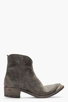 GOLDEN GOOSE Black Hand-Crafted Leather Young Cowboy Boots