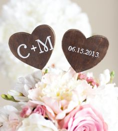 Wedding Cake Topper Rustic Wedding Set Of Two via Etsy-- Not a fan of regular cake toppers... I love these!