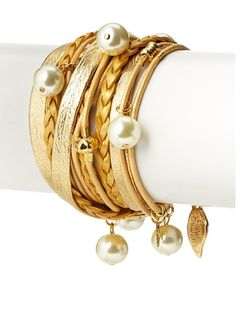 Sara Designs Gold-Tone Swarovski Pearl Triple-Wrap Bracelet at MYHABIT 99