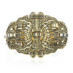 Charm & Chain | Ornate Deco Hinged Cuff - Badgley Mischka