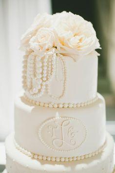 Wedding Cake - Pearl & Rose Topper