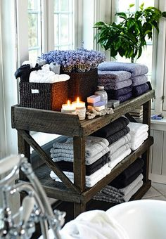 Need something like this for our towel storage in the master bath.  A bit smaller though (shorter & narrower).
