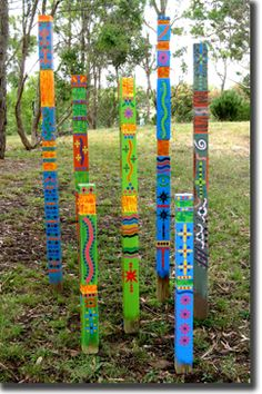 Painted wood totem2 by 4s
