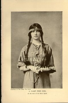 Antique Edwardian Era Photo Print, A CAMP FIRE GIRL 1906. $14.00, via Etsy.