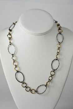 """Rebecca Bourke Jewelry - Two Toned 14kt Gold Fill and Oxidized Sterling Silver Oval Hammered Chain Necklace worn by Olivia Pope from Scandal Episode 312 """"We Do Not Touch the First Ladies""""  Shop it http://www.pradux.com/rebecca-bourke-jewelry-two-toned-14kt-gold-fill-and-oxidized-sterling-silver-oval-hammered-chain-necklace-26718?q=s44"""