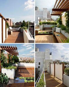Urban Oasis: Rustic Modern Rooftop Garden & Deck Design