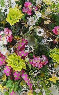 X Large Spring & Summer Outdoor Wreath With Bird by LadybugWreaths, $235.26 http://www.LadybugWreaths.com