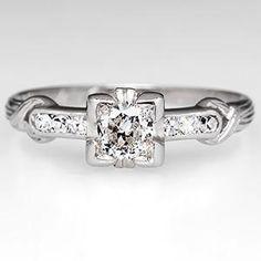 Antique Engagement Ring w/ Old Euro Diamond Platinum 1937
