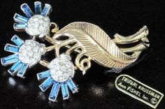 Trifari 2 Toned Flower Blue Rhinestone Pin w Original Paper Tag | eBay