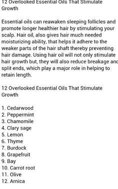 12 Essential Oils that stimulate hair growth