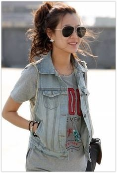 fashion, style, outfit, jeans, jean jackets, graphic tees, denim vest, jean vest, casual looks