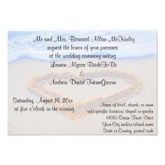 Heart in Sand Beach Wedding Reception Invitations