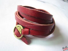 Red Leather Fashion Bracelet With Metal Buckle by sevenvsxiao, $11.50