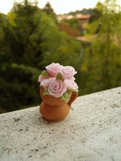 Dollhouse miniature flowers - pink roses vase hand made